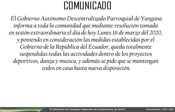 TOTALMENTE SUSPENDIDAS TODAS LAS ACTIVIDADES DENTRO DE LOS PROYECTOS