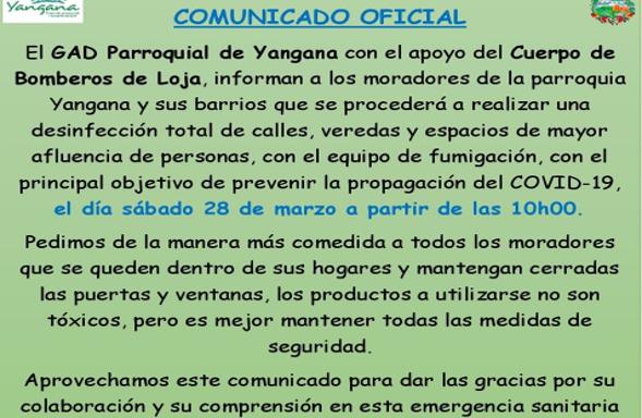 SE PROCEDERÁ A REALIZAR UNA DESINFECCIÓN TOTAL DE CALLES Y VEREDAS.